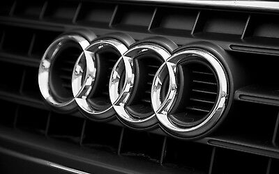 AUDI RINGS CHROME FRONT GRILLE GRILL BADGE LOGO EMBLEM 273mm x 94mm