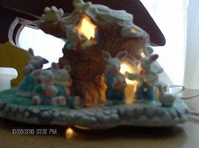 Lighted Bunnies in Treehouse with Birds Ceramic