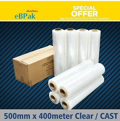 2 / 4 / 8 Rolls 500mm x 400m 25UM CLEAR Hand Stretch Film for Pallet Shrink Wrap