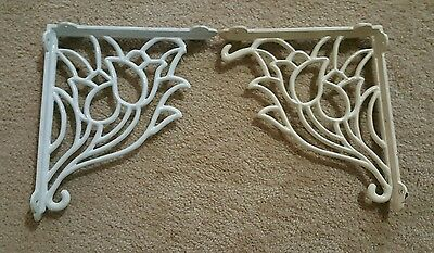 (2)Used Decorative Tulip Design,cast Iron, Corner Wall,door Or Window Brackets