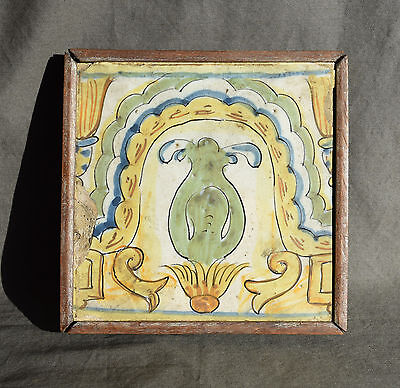 ESPAGNE CARREAU en FAIENCE XVIII/XIX EME DECOR POLYCHROME