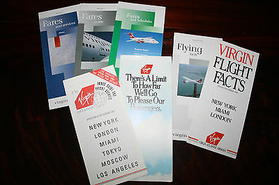 Set Of Timetable Flying Facts Fares And Schedules Virgin Atlantic From 80S & 90S