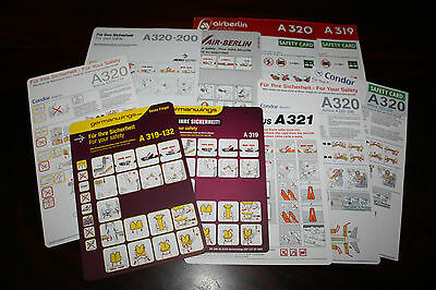 Set Of German Safety Cards Airbus A 319 A 320 A 321