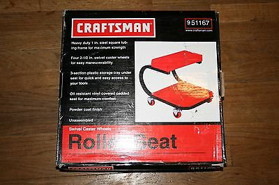 New Red Craftsman Roller Creeper Seat Heavy Duty Tool Tray Rolling Wheels