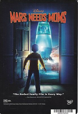"""MARS NEEDS MOMS Movie Placard from Video Rental Store 5.5"""" x 8"""""""