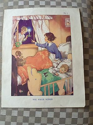 Vintage Macmillan Classroom Poster 1950's  Wee Willie Winkie Nursery Picture.