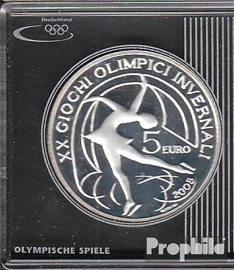 Italy Article: 2005 Polierte Plate proof 2005 5 Euro Olympics Winter Games in T