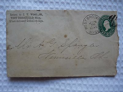 USA 2 cents STAMPED ENVELOPE 1895- From JT WOOD, West Brookfield, Massachusetts