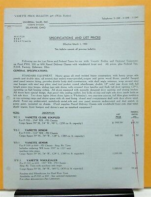 1953 Ford Truck P 350 500 600 Vanette Price Bulletin Specifications and List
