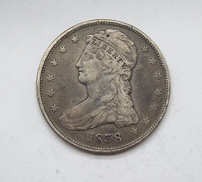 1838 Capped Bust/Reeded Edge Half Dollar VERY FINE Silver 50c