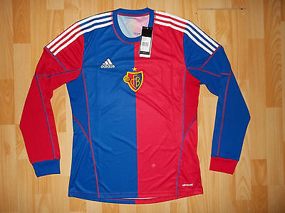BNWT New Adidas FC BASEL 2013-14 home long sleeve football shirt jersey size M