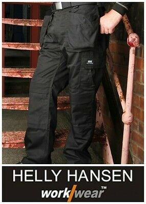 Mens Helly Hansen Ashford Work Trousers Black Cargo Pant Workwear Bottoms NEW