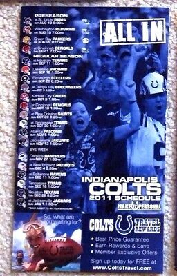 Rare Indianapolis Colts 2011 Schedule Magnet - Mint!