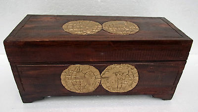 Unusual Storage Trunk Antique World Map Hand Made Ethnic Trunk or Wine Casket