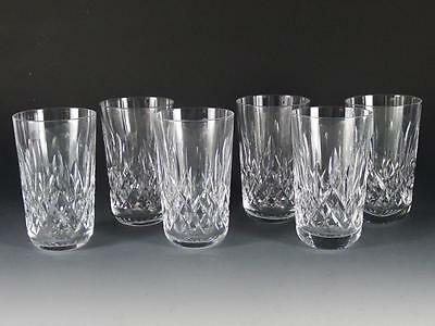 """(6) WATERFORD CRYSTAL LISMORE 12 oz 5"""" FLAT TUMBLERS / GLASSES -FREE SHIPPING"""