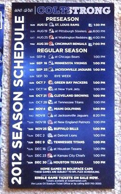 Rare Indianapolis Colts 2012 Schedule Magnet - Luck First Season - Mint!