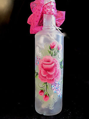Hand Painted /Wine Bottle w/ Lights -Accent/ Bar/Wedding, Mother's Day - ROSES