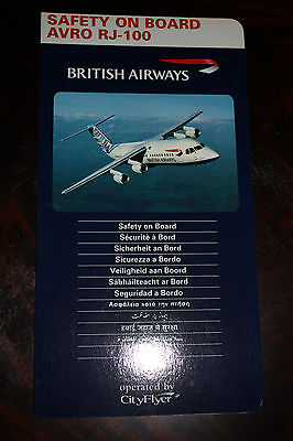 Safety Card British Airways Avro Rj-100 Operated By Cityflyer