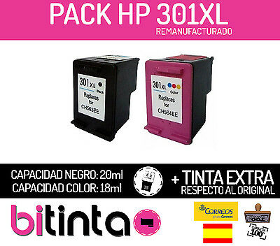 PACK CARTUCHOS TINTA HP 301 XL negro + color XL