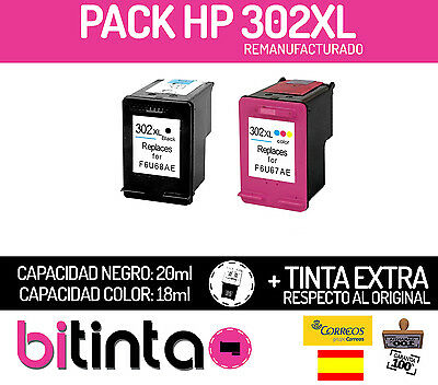 PACK CARTUCHOS TINTA HP 302 XL negro + color Deskjet 1110 2130 3630 F6U66AE