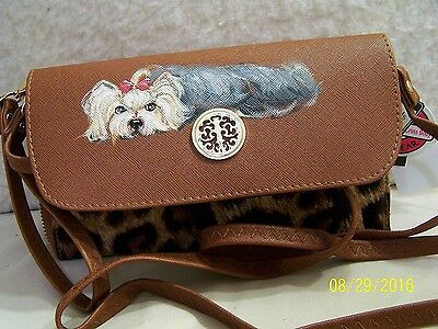 Yorkshire Terrier hand painted Sasha 3 way wallet wristlet cross body phone bag