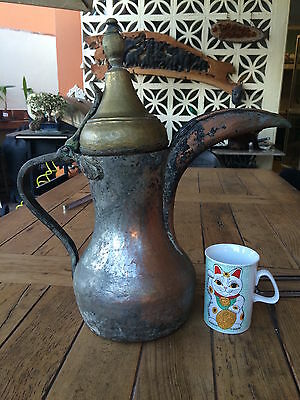 Antique Islamic Arabian Copper & Brass  دلة Dallah Bedouin Coffee Pot