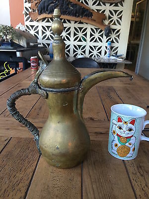 Antique Islamic Arabian Brass  دلة Dallah Bedouin Coffee Pot bought Aleppo 1999