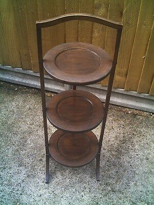 Antique Folding 3 Tier Wooden Cake / Plant Stand