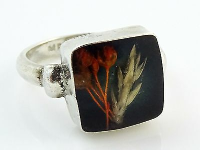 Sterling Silver Ring Mexico 925 Dried Flowers Under Lucite Square Size 7