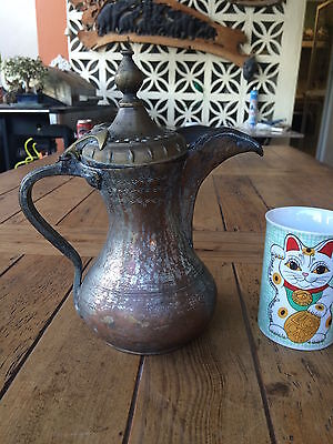 Antique Islamic Arabian Copper & Brass  دلة Dallah Bedouin Coffee Pot Aleppo