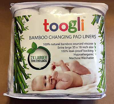"""Toogli Bamboo Changing Pad Liners 3 Pack Extra Large 35"""" x 18"""" WASHABLE, TRAVEL"""