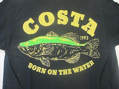 New Authentic Costa Del Mar, Big Bass ,Black, Short Sleeve T-Shirt Size Large
