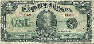 Dominion Of Canada $1 Dollar 1923 ~ Black Seal Group 3 ~ Campbell-Sellar Sigs