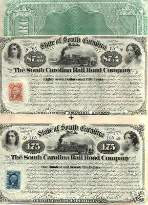 FULL COL FULL SZ REPRINT of OUR OWN 1866 S CAROLINA RR $175 NOTE Old Train/Girls