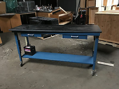 Blue Lab Bench with Resin Top and Drawers