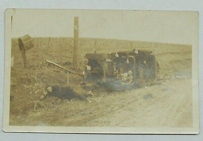 Automobile Real Photo RPPC Postcard c1910 Car Auto Wreck Disaster STAGED*