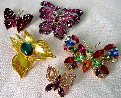 Butterfly, Vintage Gorgeous Rhinestone Pin Brooches, Lot of 5