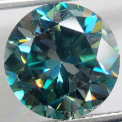 1.05 carat 6.64 mm VS1 dark blue loose moissanite round brilliant cut GEM EDH