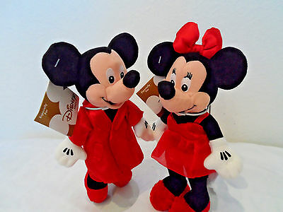 Disney Mini Bean Bag Plush Mickey And Minnie In Red Satin Pajamas. New With Tags