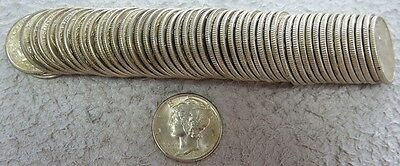 Roll: (50) 1939 Silver United States Mercury Dime Coins Brilliant Uncirculated