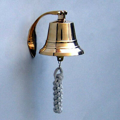 "Solid Brass Bracket Bell 4"" X 4""  Great tone for a small bell"