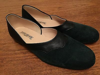 Mens Vintage House Shoes Slippers In Black Leather And Cord Size 8.5