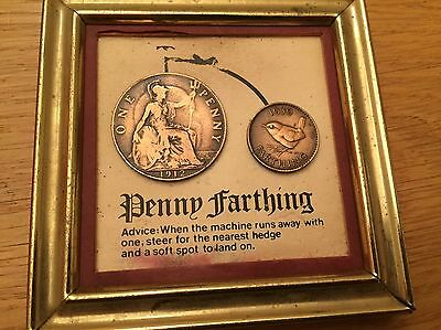 Framed Coins Penny Farthing 1912 & 1939 One Penny As A Bike