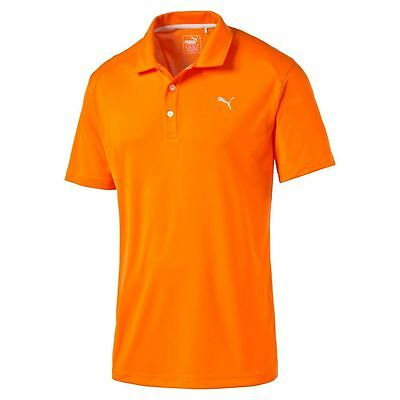 NEW Men's Puma Golf Essential Pounce Polo Shirt Vibrant Orange Large LG L