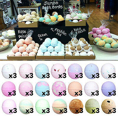 3x LARGE 180g Jumbo Bath Bombs With Shea Butter UK Handmade Scented Lush Smells