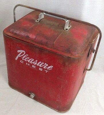 Vintage Retro Red Metal Pleasure Chest Cooler Ice Chest Box with cap 1950's
