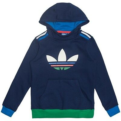 Size Infants 5/6 Years - Adidas 3 Stripes Trefoil Logo Overhead Hooded Top  Blue