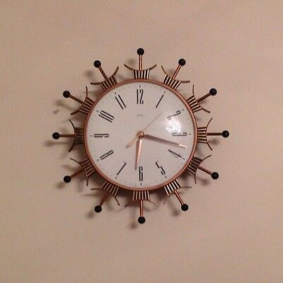 "Vintage Metamec Electric Sunburst Style Wall Clock  11"" Diameter Working"