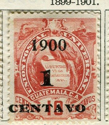 GUATEMALA;  1899-1901 classic surcharged(R) issue Mint unused 1c. value
