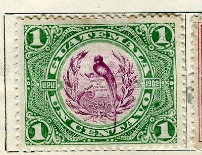 GUATEMALA;  1902 early pictorial issue Mint hinged 1c. value